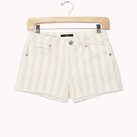 Frayed Striped Denim Shorts