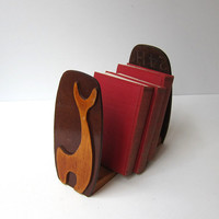Vintage 1960s modernist handmade plywood giraffe bookends