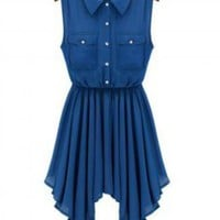 Beautiful Sleeveless Button Top High-Low Dress
