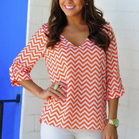 RESTOCK: EVERLY Spring Back The Chevron V-Neck: Sherbert | Hope's