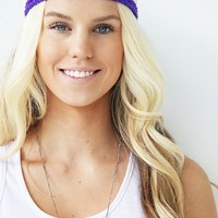 Purple Violet Headband Double Braid Hair Band Hippy Style Summer Hairwrap