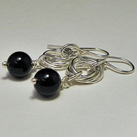 Drop Earrings Sterling Silver and Black Onyx by LaraJordanJewelry