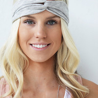 Turban Style Lightweight Heather Grey Headband Basic Head Wrap