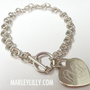 Monogrammed German Silver Link Bracelet Heart | Custom Jewelry