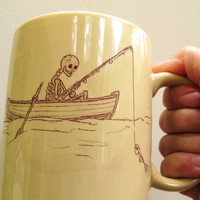 Ceramic Humorous Die Hard Fishing Mug by jillatay on Etsy