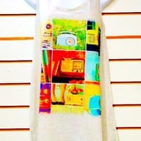 Vintage Radio Tank Top Tunic Blouse T Shirt Dress