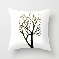 White Tree Throw Pillow by Morgan Ralston