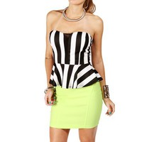 Black/White Vertical Stripe Peplum Top
