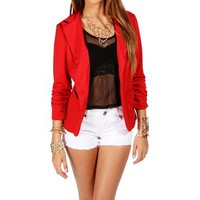 Red Lipstick 3/4 Knit Blazer