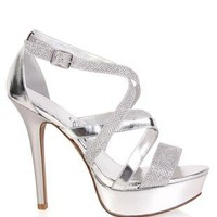 open toe metallic high heel with mesh glitter - 1000041906 - debshops.com