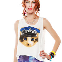 Papaya Clothing Online :: BEADED CAT PRINT GRAPHIC TOP
