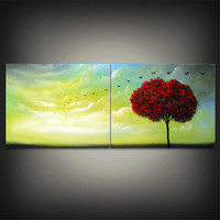 mid century abstract tree painting bird painting cloud by mattsart