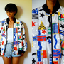 Vtg Bold Stars &amp; Stamps Flags Printed Zip Up Bomber Jacket