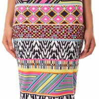 Multi Color Aztec Print Bodycon Midi Skirt
