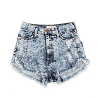 High Rise Acid Washed Shorts - 2020AVE