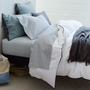 Linen Cotton Blend Duvet Cover + Shams - Dusty Blue