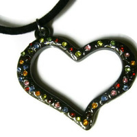 Metal Heart Necklace. Multicolored Embedded Rhinestones.  Black Velvet Cord. Valentine&#x27;s Day Gift.
