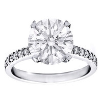 Preset Engagement Rings - Round Diamond Engagement Ring 0.76 Tcw. Very Good Cut, M VS1, GIA with A Diamond Band