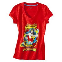 Wonder Woman Juniors V Neck Sleep Tee - Red