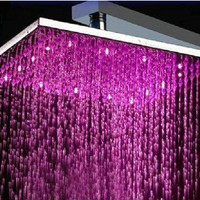 "16"" Water Power Big Stainless Steel Square 3 Color LED Temperature Sensitive Rainfall Shower Head ,Chrome Finish Ys-1733:Amazon:Home Improvement"