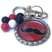 Mustache Zipper Pull , Girls Luggage Tag , Bottle Cap Zipper Pull