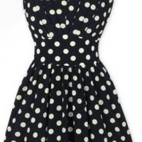 Beautiful V-neck Polka Dot  Sleeveless Dress