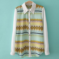 Vintage Waves Geometry Chiffon Shirt