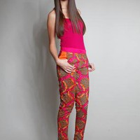 Pink Orange Tribal African Batik Wax Print Color Block Pants