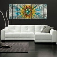 "All My Walls Abstract by Ash Carl Metal Wall Art in Orange Multi - 23.5"" x 60"" - SWS00067 - All Wall Art - Wall Art & Coverings - Decor"