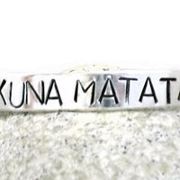 Hakuna Matata Hand Stamped SIB Bracelet - Aluminum, Adjustable; Handcrafted in USA by Foxwise Jewelry:Amazon:Everything Else