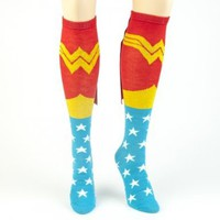 DC Comics Wonder Woman Logo Licensed Knee High Socks w/ Cape:Amazon:Clothing