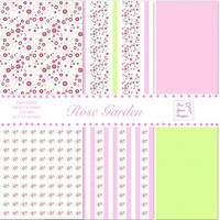 Digital Printable Rose Garden Craft Papers, Scrapbooking, Card Making, Instant Download, Pink And Green Floral Paper