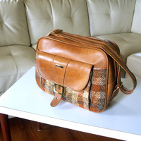 Caramel Brown Faux Leather Hipster 60s CARRY ON LUGGAGE Vintage Plaid & Preppy Travel Organizer Weekend Overnight Bag Shoulder Strap