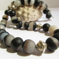 Agate Beaded Necklace, Gemstones Necklace, Sterling Silver Balinese Beads