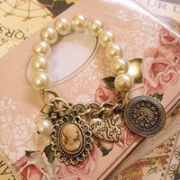 Classic vintage pearl bracelet with charms:Amazon:Home &amp; Kitchen