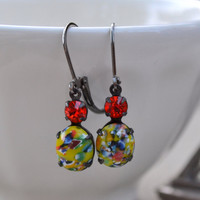 Red and Yellow Millefiori Estate Lever Back Earrings, Vintage Speckled Glass Rhinestone, Gunmetal