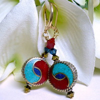 Tibet Turquoise Coral Lapis and Brass with Swarovski Crystal Earrings