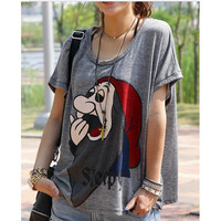 CARTOON PRINT ROUND NECK SHORT SLEEVE LOOSE T-SHIRT