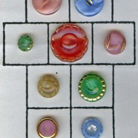 Moonglow colored glass buttons VINTAGE moonglows
