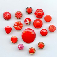 Red  glass buttons vintage buttons