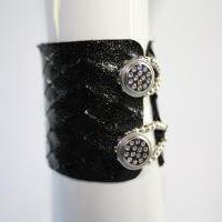 Diamond Lazer Cut Leather Cuff by rubyroxdesigns on Etsy