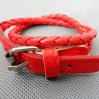 Adjustable Red leather Woven Bracelets
