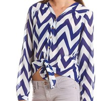 Tie-Front Chevron Stripe Blouse: Charlotte Russe