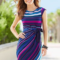 Stripe side wrap dress in the VENUS Line of Dresses for Women