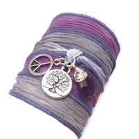 Silk Wrap Bracelet with Tree of Life, Peace Sign, and Amethyst, yoga jewelry, wrapped wrapping bracelet, wrap around,wrist wrap - $34.00 - Handmade Crafts and Vintage Items by CharmedDesign