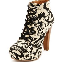 Tribal Canvas Lace-Up Bootie: Charlotte Russe