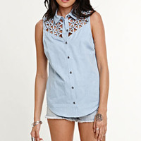 Kendall & Kylie Studded Sleeveless Shirt at PacSun.com