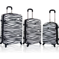 Travelers Polo & Racquet Club Safari Zebra Pattern 3 Piece Luggage Set