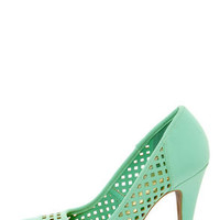 Anne Michelle Adoncia 02 Mint Perforated Cap-Toe Pumps