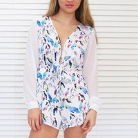 Romper Playsuit J Lo in Tropical Bird Print